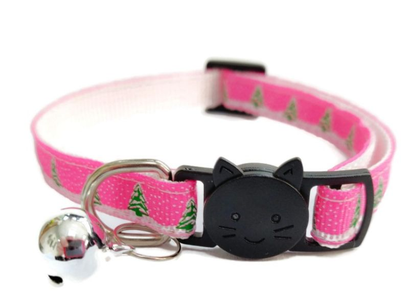 Christmas Cat Collar – Pink with Christmas Trees & Snow