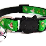 Christmas Cat Collar – Green with Hats & Holly