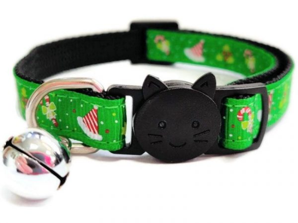 Christmas Cat Collar – Green with Christmas Hat & Holly