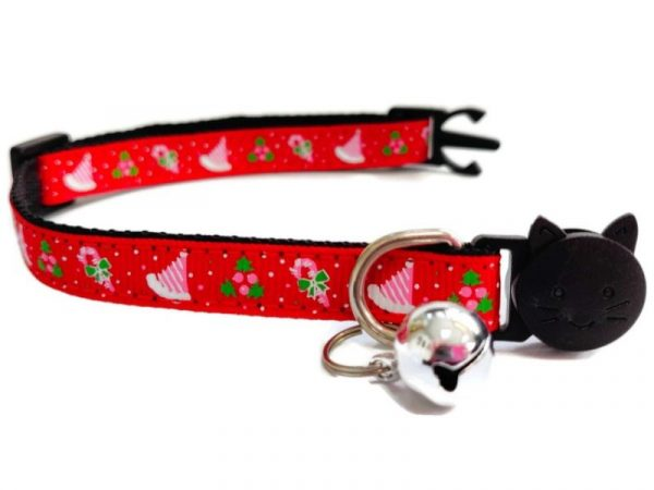 Christmas Kitten Collar – Red with Christmas Hat & Holly