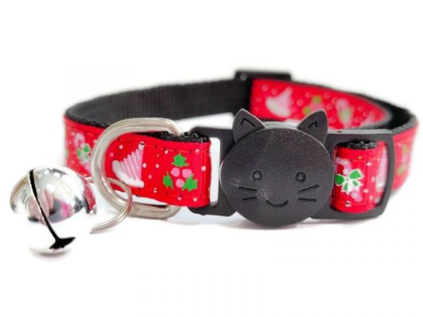 Christmas Cat Collar – Red with Christmas Hat & Holly