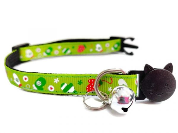 Christmas Kitten Collar – Green with Christmas Gloves