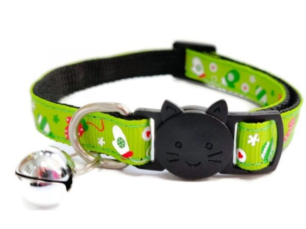Christmas Cat Collar – Green with Christmas Gloves