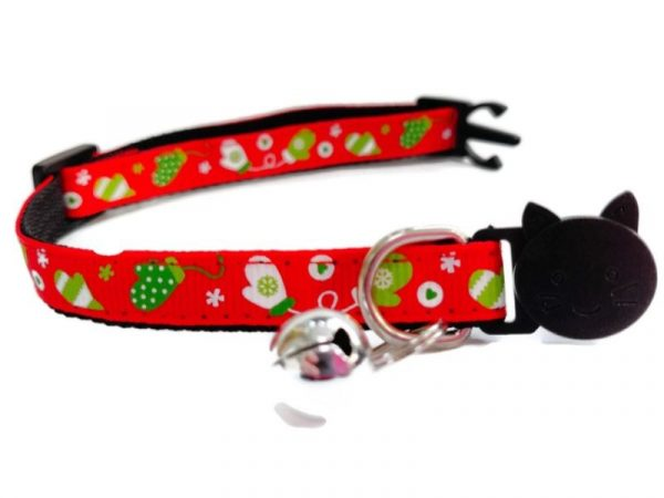 Christmas Kitten Collar – Red with Christmas Gloves