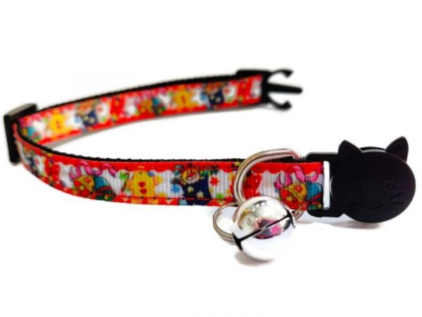 Christmas Kitten Collar – Red with Holly and Ginger Bread Man