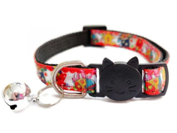 Christmas Cat Collar – Red with Holly and Ginger Bread Man