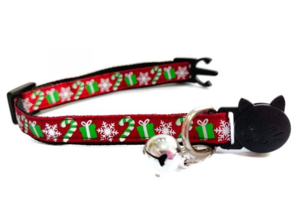 Christmas Kitten Collar – Maroon Red with Gifts, Snow flakes and Candy Sticks