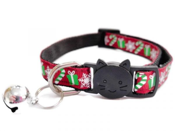 Christmas Cat Collar – Maroon Red with Gifts, Snow flakes and Candy Sticks