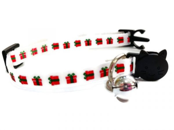 Christmas Kitten Collar – White with Red Gifts