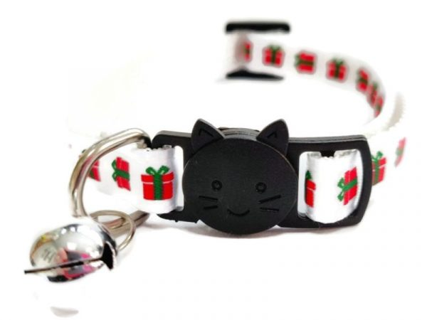 Christmas Cat Collar – White with Red Gifts