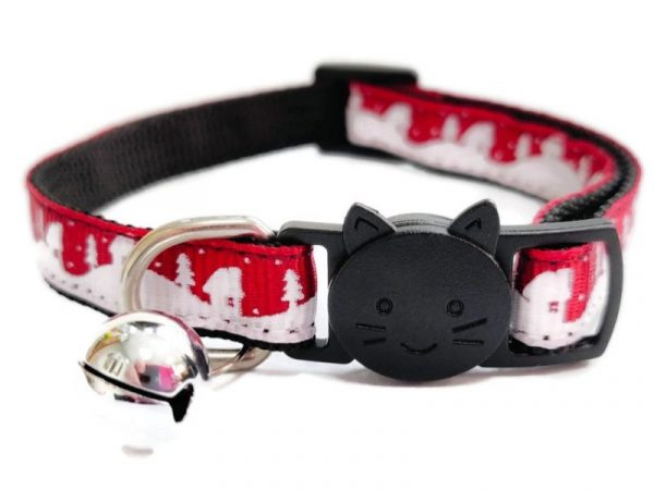 Christmas Cat Collar – Red with Snow & Trees