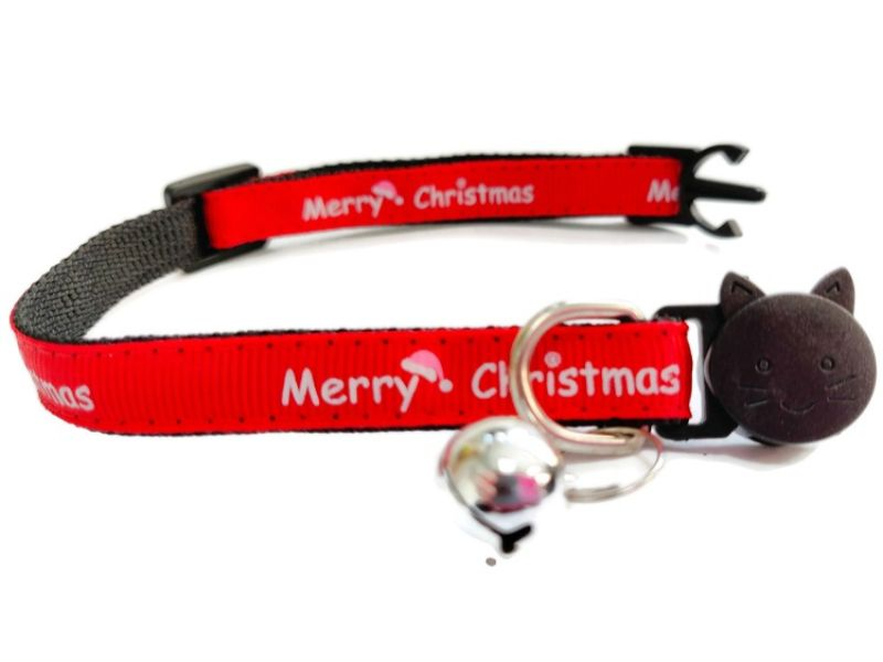 Christmas Cat Collar – Red with 'Merry Christmas'