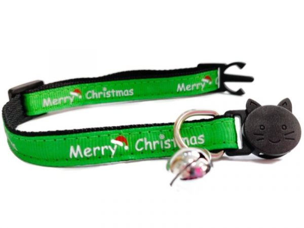Christmas Kitten Collar – Green with 'Merry Christmas'