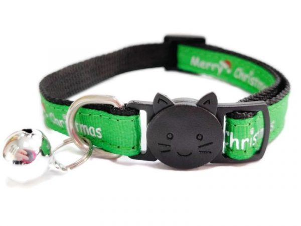 Christmas Cat Collar – Green with 'Merry Christmas'