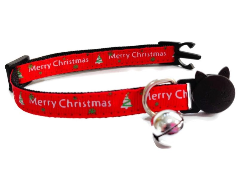 Christmas Cat Collar – Red with 'Merry Christmas' and Trees
