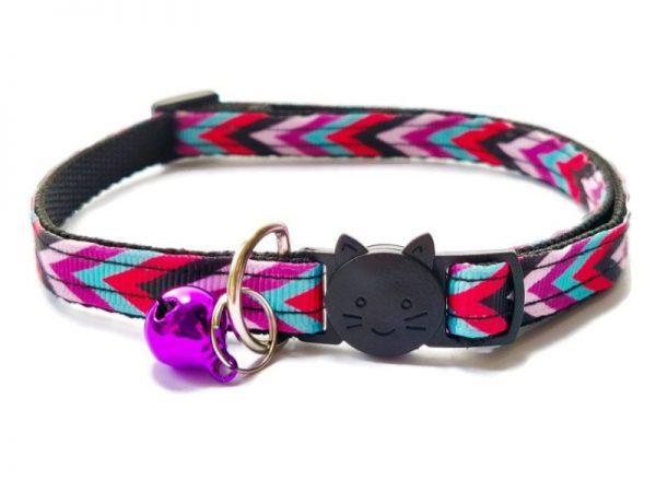 Multi Colour Chevron Cat Collar
