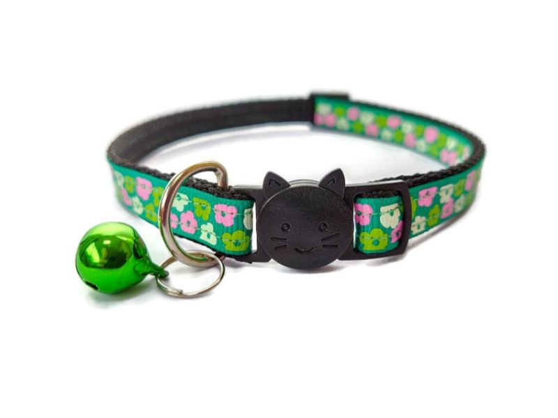 Green with Pink & Green Flowers Cat Collar