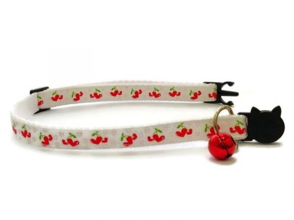 White with Red Hearts Kitten Collar