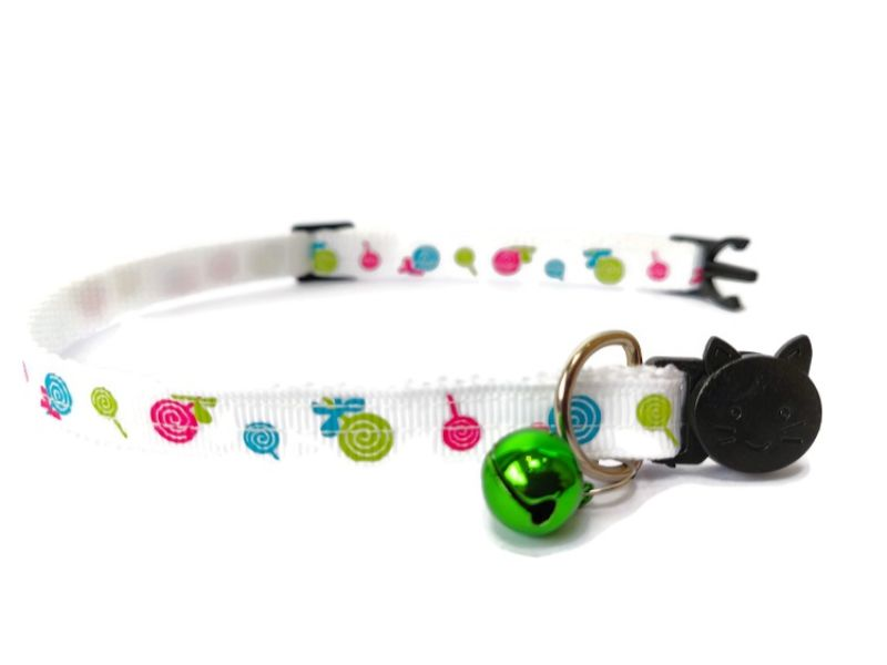 White with Sweets Print Cat Collar