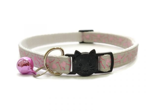 Grey with Love Hearts Cat Collar
