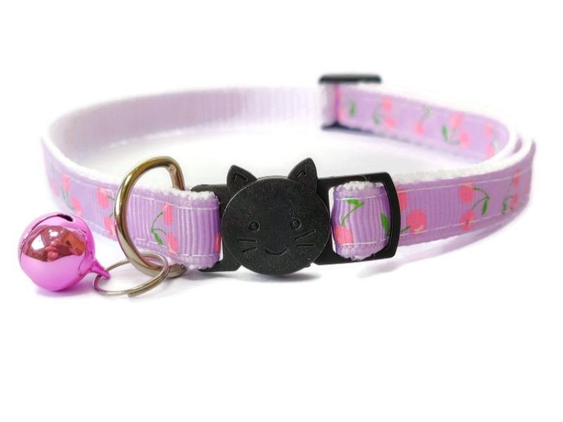 Lilac with Pink Cherries Cat Collar