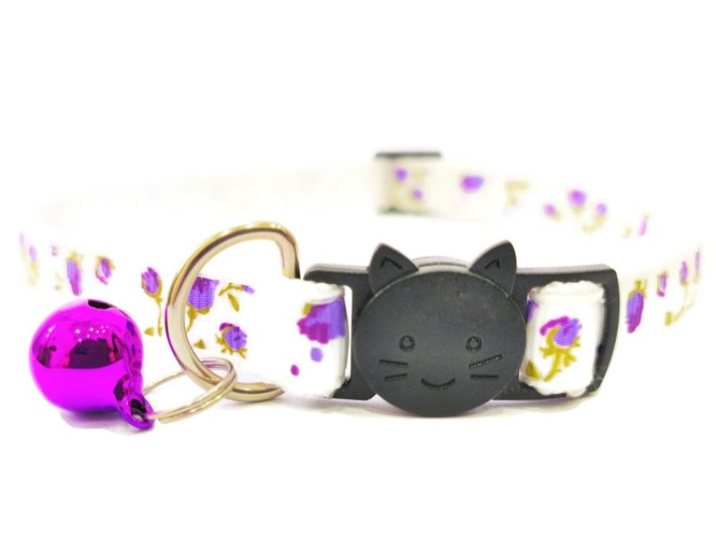 White with Purple Roses Cat Collar