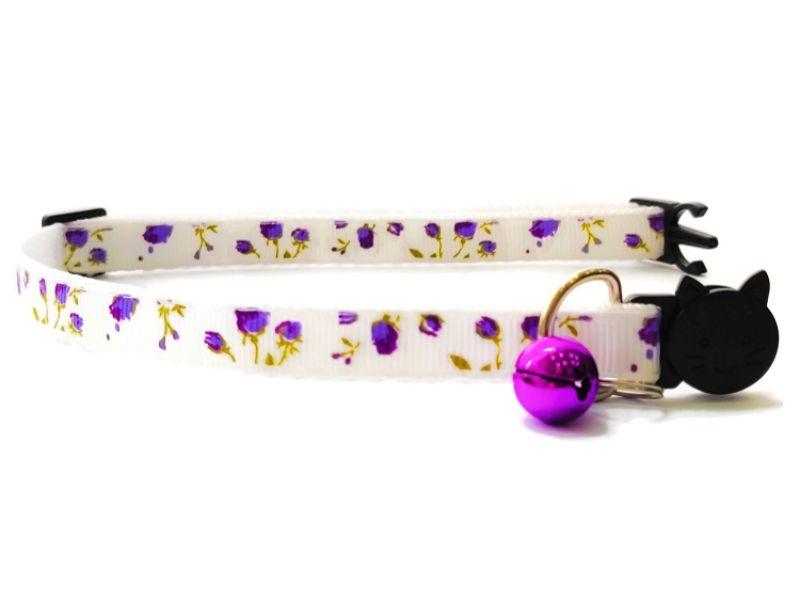 White with Purple Roses Kitten Collar
