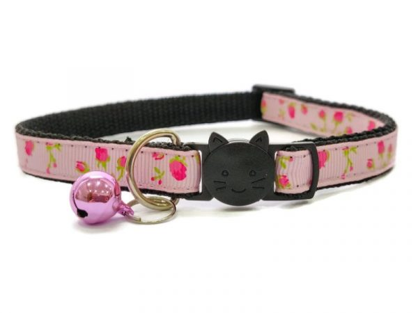 Pink with Red Roses Cat Collar