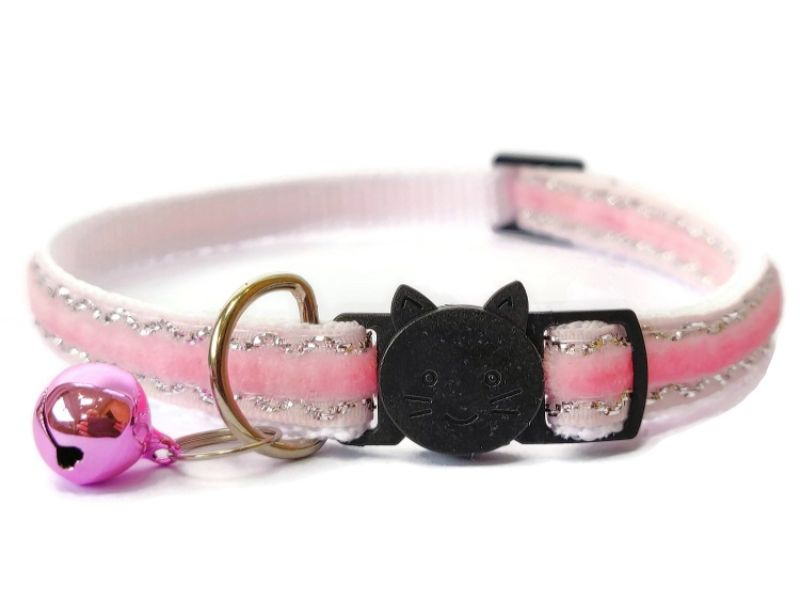 Baby Pink Velvet Sparkle Cat Collar (Single Sided Velvet)