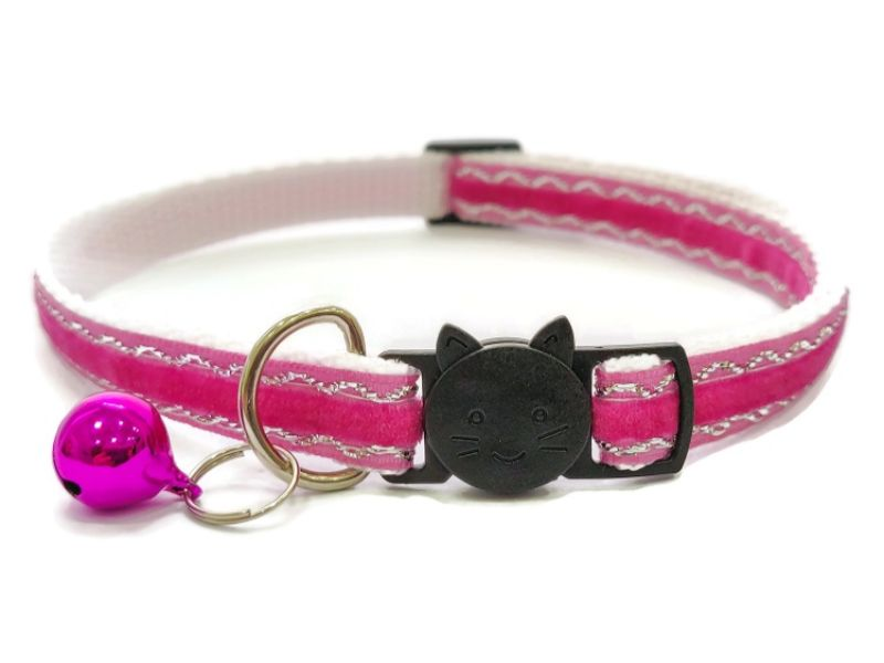 Rose Velvet Sparkle Cat Collar (Single Sided Velvet)
