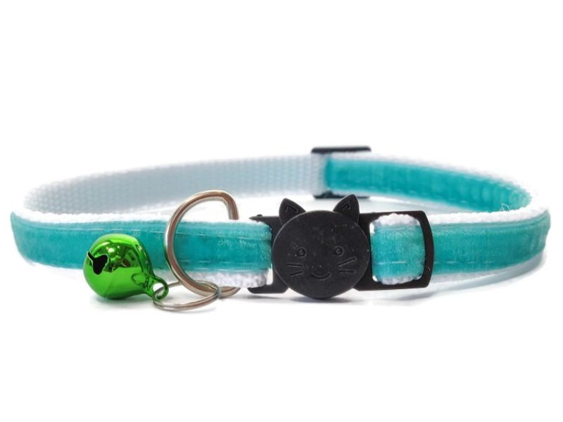 Teal Velvet Cat Collar (Single Sided Velvet)