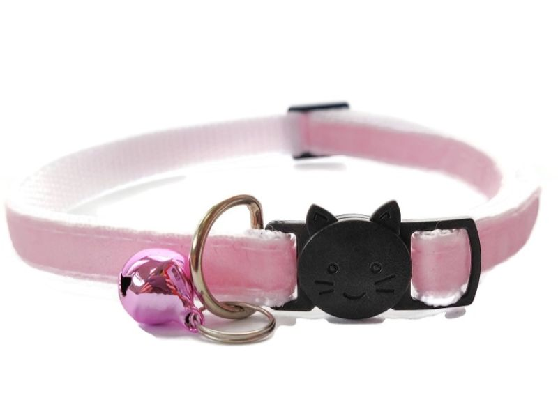 Baby Pink Velvet Cat Collar (Single Sided Velvet)