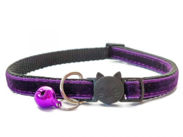 Deep Purple Velvet Cat Collar