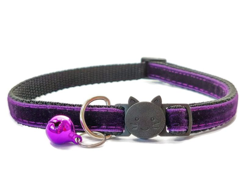 Deep Purple Velvet Cat Collar (Single Sided Velvet)