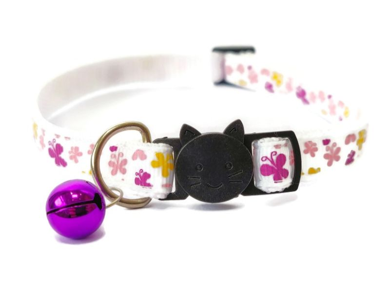White Butterfly Cat Collar