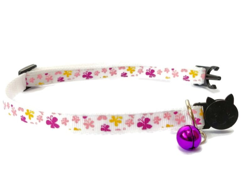 White with Yellow and Pink Butterflies Cat Collar
