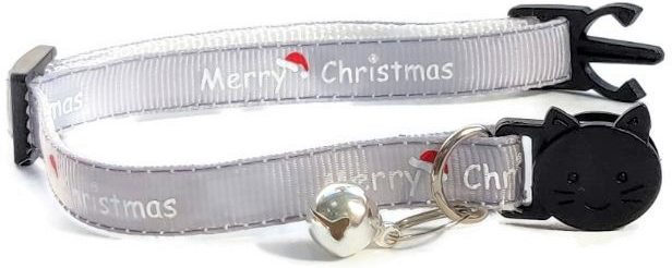 Christmas Collar – Grey with 'Merry Christmas'