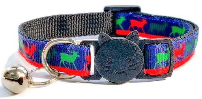 Christmas Collar – Navy Blue with Reindeers