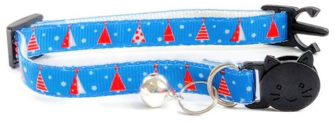 Christmas Collar – Blue with Christmas Trees