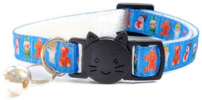 Christmas Collar – Blue with Gingerbread Men