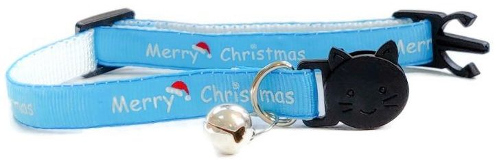 Christmas Collar – Blue with 'Merry Christmas'