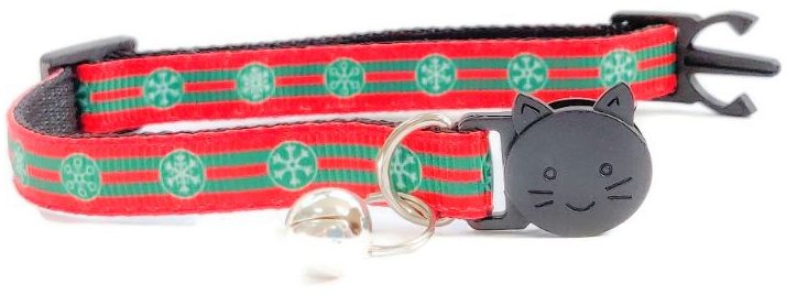 Christmas Collar – Red with Stripe & Snowflakes