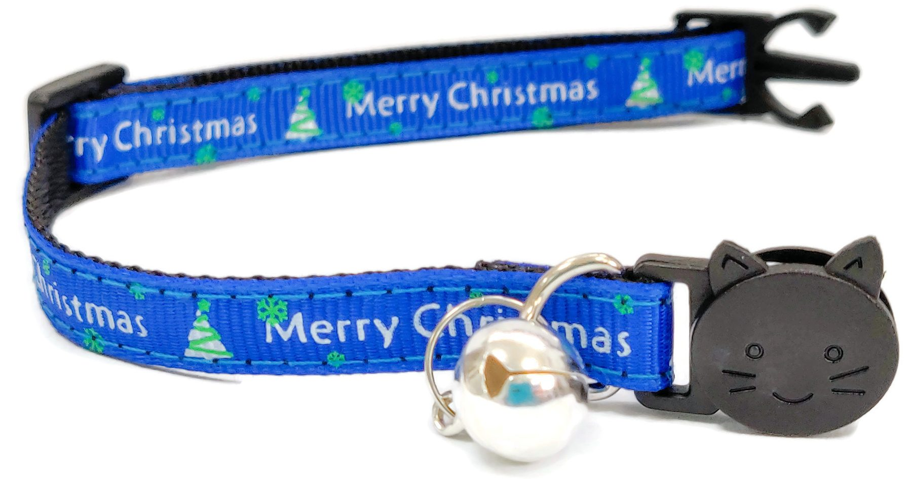 Christmas Collar – Blue with 'Merry Christmas' and Christmas Trees
