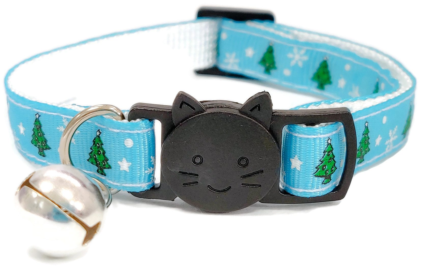 Christmas Collar – Light Blue with Christmas Tree's