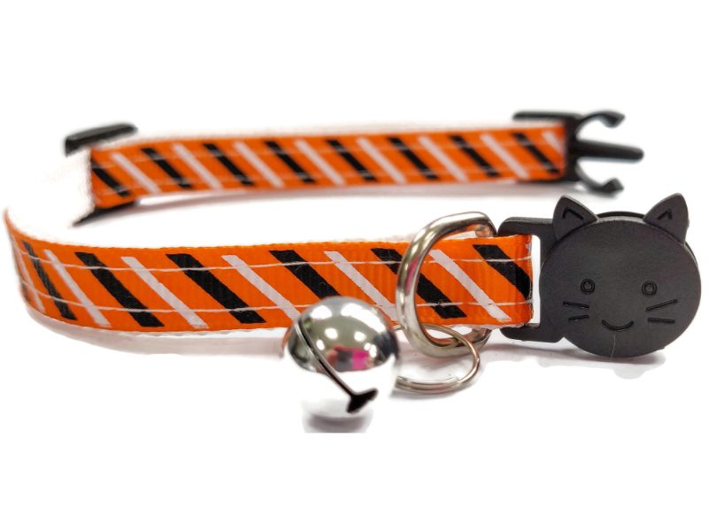 Orange with Black & White Stripe Cat Collar