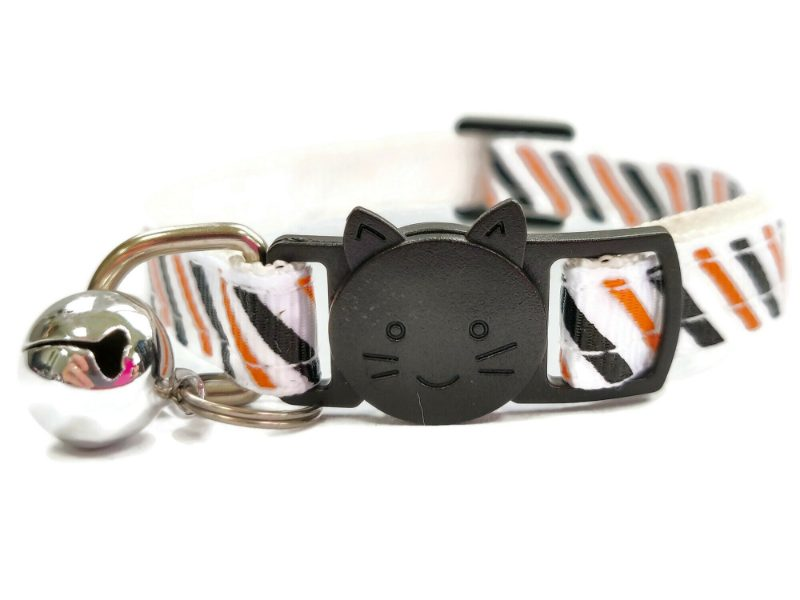 White with Black & Orange Stripe Cat Collar