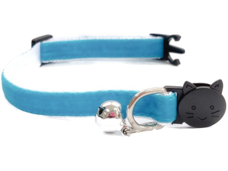 Turquoise Velvet Cat Collar (Single Sided Velvet)
