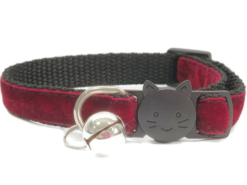 Maroon Red Velvet Cat Collar (Single Sided Velvet)