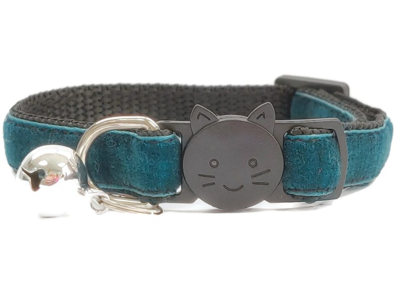 Emerald Green Velvet Cat Collar (Single Sided)