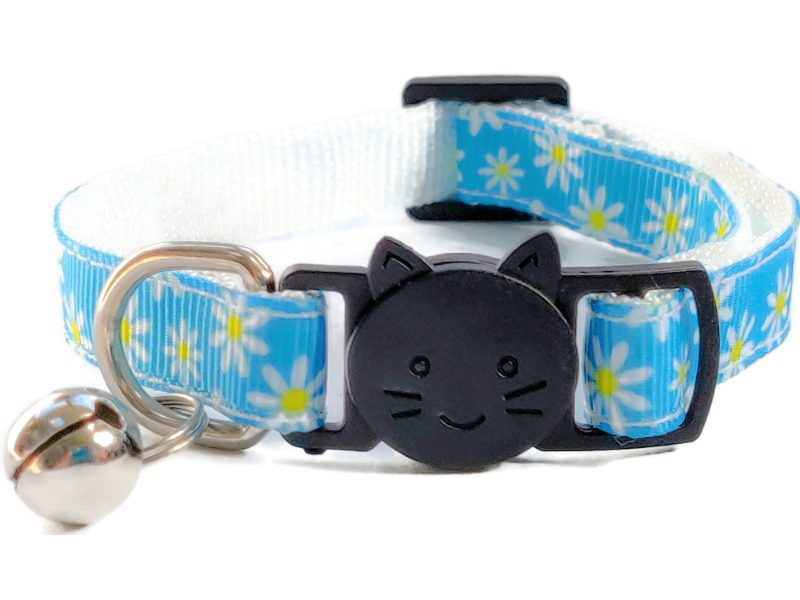 Light Blue with Daisy Flowers Cat Collar